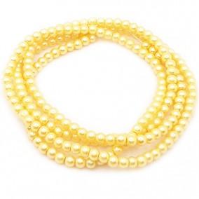 Perle sticla 4mm galben sirag 80cm