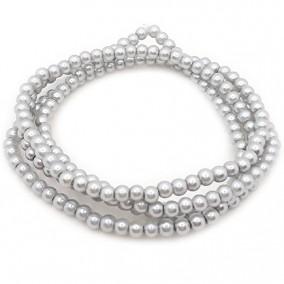Perle sticla 4mm gri argintiu sirag 80cm