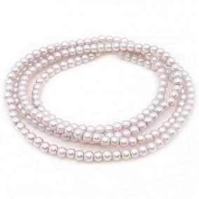 Perle sticla 4mm gri bej sirag 80cm