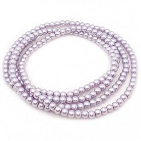Perle sticla 4mm lavanda argintiu sirag 80cm