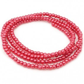 Perle sticla 4mm rosu sidefat sirag 80cm