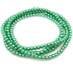 Perle sticla 4mm verde iarba sirag 80cm