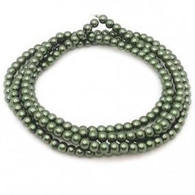 Perle sticla 4mm verde kaki sirag 80cm