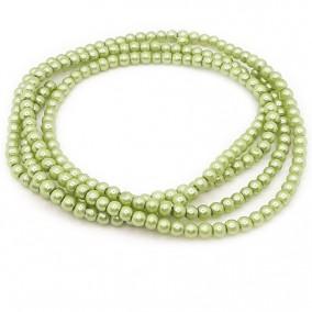 Perle sticla 4mm verde oliv sirag 80cm