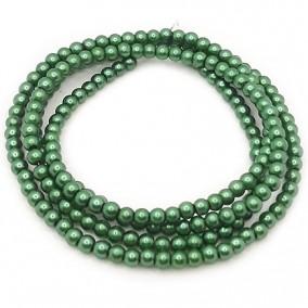 Perle sticla 4mm verde pin sirag 80cm