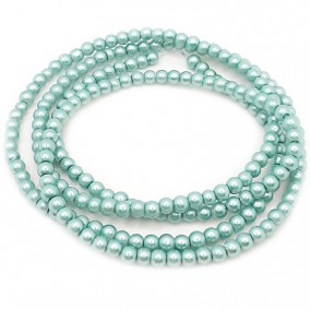 Perle sticla 4mm verde turcoaz sirag 80cm