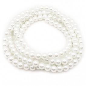 Perle sticla 6mm alb sirag 80cm
