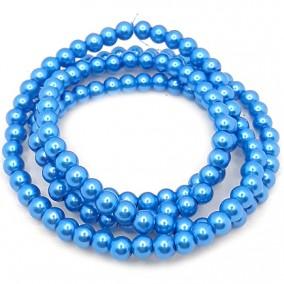 Perle sticla 6mm albastru denim sirag 80cm