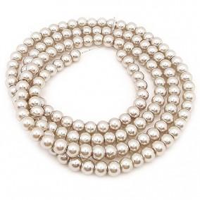 Perle sticla 6mm crem argintiu sirag 80cm