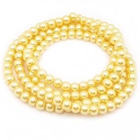 Perle sticla 6mm galben sirag 80cm