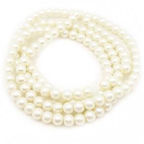 Perle sticla 6mm ivoire sirag 80cm