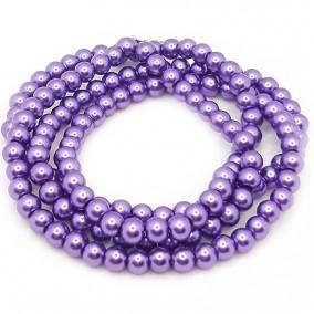 Perle sticla 6mm mov purpuriu sirag 80cm