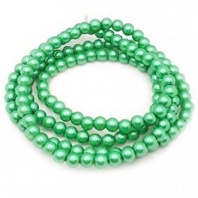 Perle sticla 6mm verde iarba sirag 80cm