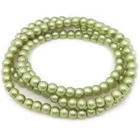 Perle sticla 6mm verde oliv sirag 80cm