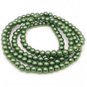 Perle sticla 6mm verde pin sirag 80cm