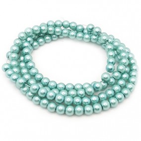 Perle sticla 6mm verde turcoaz sirag 80cm