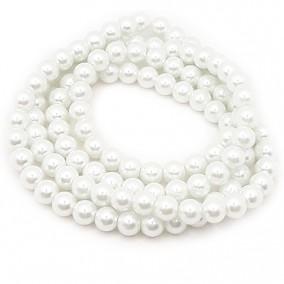 Perle sticla 8mm alb sirag 80cm
