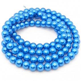 Perle sticla 8mm albastru denim sirag 80cm