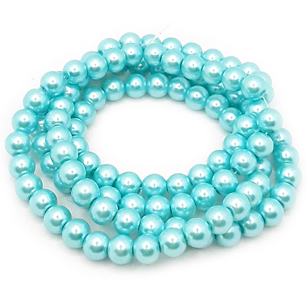 Perle sticla 8mm albastru turcoaz sirag 80cm