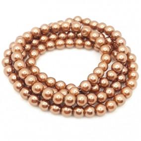 Perle sticla 8mm bronz cafeniu sirag 80cm
