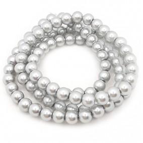Perle sticla 8mm gri argintiu sirag 80cm