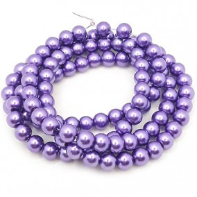 Perle sticla 8mm mov purpuriu sirag 80cm