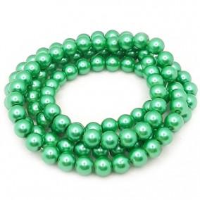 Perle sticla 8mm verde iarba sirag 80cm