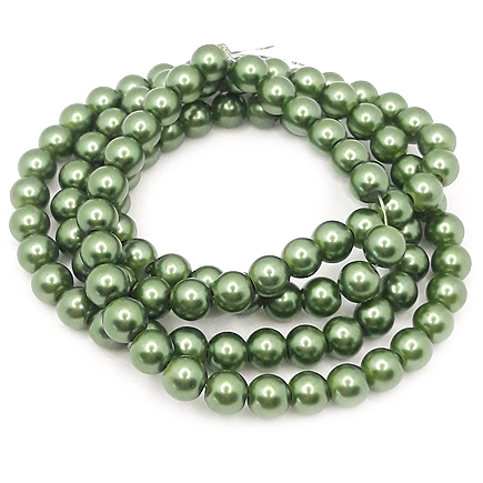 Perle sticla 8mm verde kaki sirag 80cm