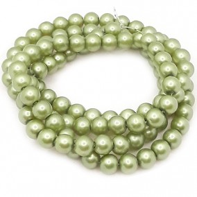 Perle sticla 8mm verde oliv sirag 80cm