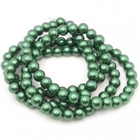 Perle sticla 8mm verde pin sirag 80cm
