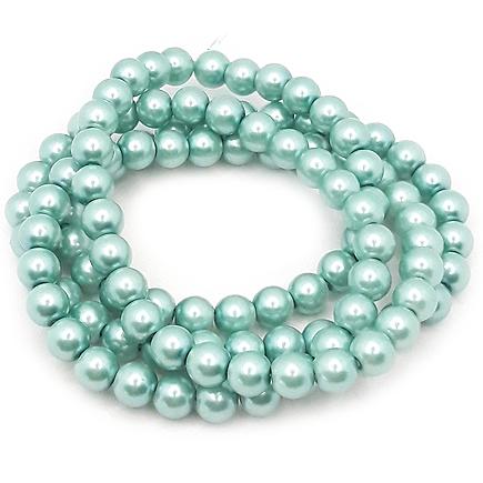 Perle sticla 8mm verde turcoaz sirag 80cm