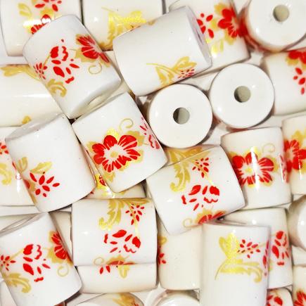 Margele cilindrice din portelan 10x8mm imprimeu flori rosii si aurii