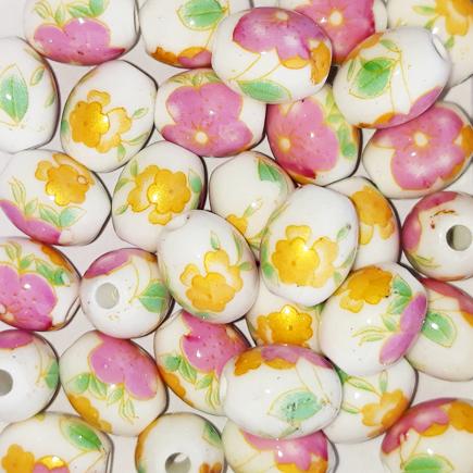 Margele ovale din portelan 10x8mm imprimeu flori roz si galbene
