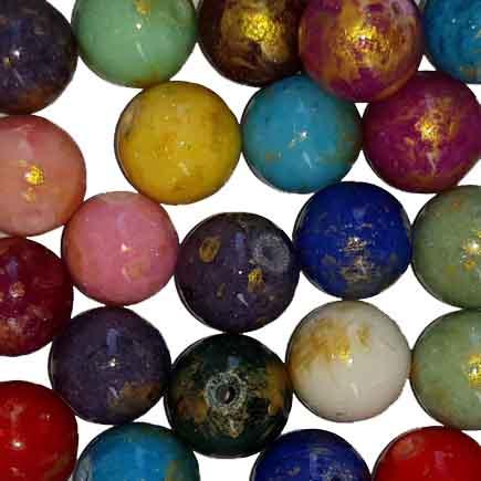 Margele sferice din portelan 10mm amestec culori cu auriu