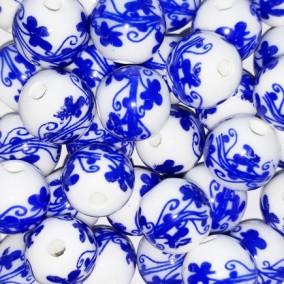 Margele sferice din portelan 10mm imprimeu flori albastru regal