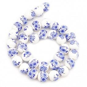 Margele sferice din portelan 10mm imprimeu flori mari albastre