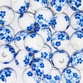 Margele sferice din portelan 10mm imprimeu flori mici albastre