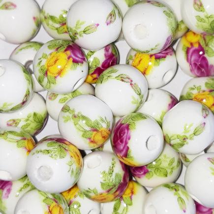 Margele sferice din portelan 10mm imprimeu flori mov si galbene