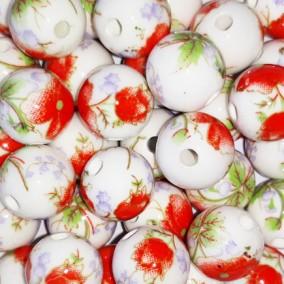 Margele sferice din portelan 10mm imprimeu flori rosii si mov