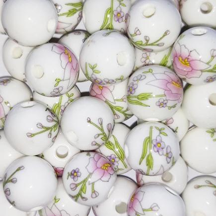 Margele sferice din portelan 10mm imprimeu flori roz