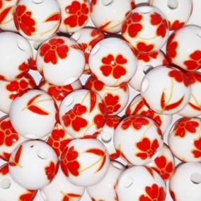 Margele sferice din portelan 10mm imprimeu flori trifoi rosu