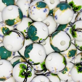 Margele sferice din portelan 10mm imprimeu flori verde imperial