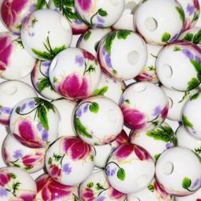 Margele sferice din portelan 10mm imprimeu flori violet