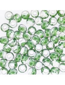 Margele sferice din portelan 6mm imprimeu flori verzi