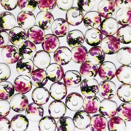 Margele sferice din portelan 6mm imprimeu flori violet