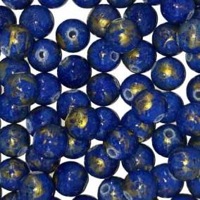 Margele sferice din portelan 7mm albastru cu auriu