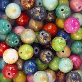 Margele sferice din portelan 7mm amestec culori cu auriu