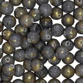 Margele sferice din portelan 7mm gri cu auriu