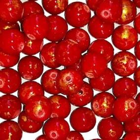 Margele sferice din portelan 7mm rosu cu auriu