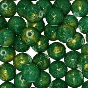 Margele sferice din portelan 7mm verde cu auriu